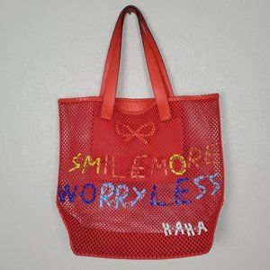Anya Hindmarch Woven Red Leather Tote Purse Bag